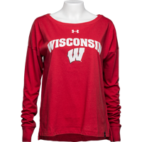 Cover Image For Under Armour Women's Wisconsin Long Sleeve T-Shirt (Red)