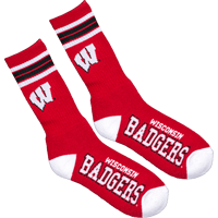Image For For Bare Feet Wisconsin Badger 4-Stripe Socks (Red)