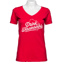 Cover Image For Drink Wisconsinbly Women's V-Neck T-Shirt (Red)