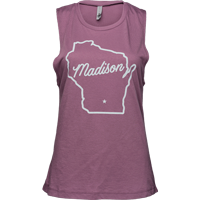 Image For Brew City Women's Wisconsin State Outline Tank (Shiraz)