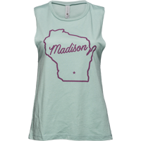 Image For Brew City Women's Wisconsin State Outline Tank (Green)