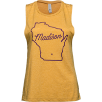 Image For Brew City Women's Wisconsin State Outline Tank (Gold)