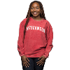 Image for Chicka-d Women's Corduroy Wisconsin Crewneck (Red)