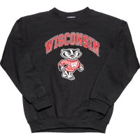 Cover Image For Champion Youth Wisconsin Bucky Badger Crewneck (Black)