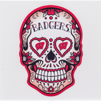 Cover Image For Dizzlers Wisconsin Badgers Sugar Skull Sticker Large