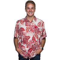 Cover Image For Tommy Bahama Wisconsin Super Fan Silk Shirt (White/Red)
