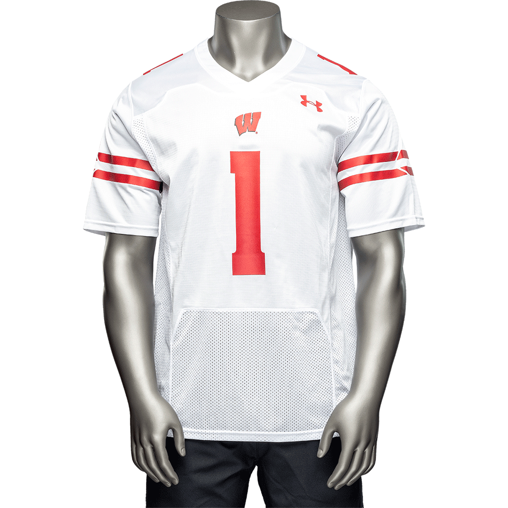 sale retailer 7d683 4d863 Under Armour Wisconsin Football Jersey #1 3X (White ...