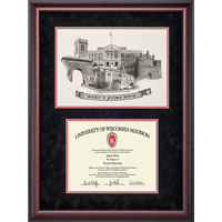 Image For Alumni Artwork UW Black Suede Diploma Frame