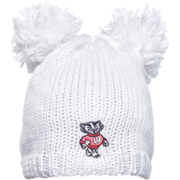Cover Image For Logofit Bucky Badger Knit Double Pom Hat (White)