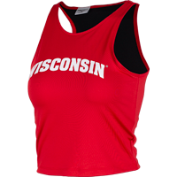 Cover Image For ZooZatz Women's Arched Wisconsin Crop Top (Red)