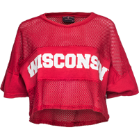 Cover Image For Spirit Jersey Women's Crop Mesh Wisconsin Top (Red)