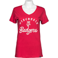 Cover Image For '47 Brand Women's Wisconsin Badgers V Neck T-Shirt (Red)