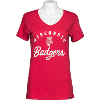 Image for '47 Brand Women's Wisconsin Badgers V Neck T-Shirt (Red)