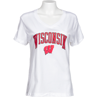 Cover Image For Alta Gracia Women's Wisconsin V-Neck T-Shirt (White)