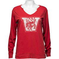 Image For '47 Brand Women's Vault Wisconsin Long Sleeve T-Shirt (Red)