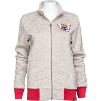 Image For '47 Brand Women's Full Zip Wisconsin Sweater (Cream)