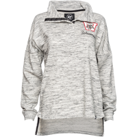 Image For '47 Brand Women's ¼ Snap Vault WI Long Sleeve (Gray/Cream)