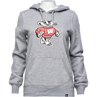 Image For '47 Brand Women's Bucky Badger Hoodie (Gray)