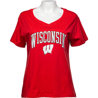 Cover Image For Alta Gracia Women's Wisconsin V-Neck T-Shirt (Red)