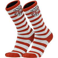 Image For TCK Comfort Bucky Badger Striped Socks (Red/White)