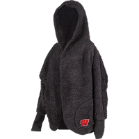 Image For ZooZatz Women's Wisconsin Hooded Fleece Cardigan (Black)