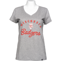 Cover Image For '47 Brand Women's Wisconsin Badgers V-Neck T-Shirt (Gray) *
