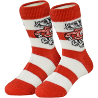 Image For TCK Comfort Kids Bucky Badger Striped Sock (Red/White)