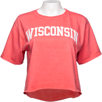 Image For Blue 84 Women's Wisconsin Crop T-Shirt (Bright Salmon) *