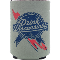 Image For Drink Wisconsinbly Ribbon Can Coozie (Gray)