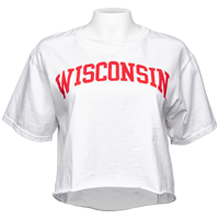 Cover Image For Blue 84 Women's Wisconsin Crop T-Shirt (White)