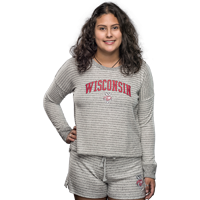 Image For Boxercraft Women's Wisconsin Boxy Crew Neck (Gray/White)