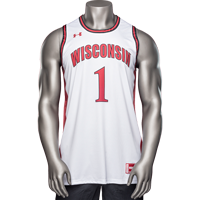 Image For Under Armour Wisconsin Retro Basketball Jersey (White) *