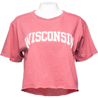 Cover Image For Blue 84 Women's Wisconsin Crop T-Shirt (Red)