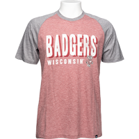 Image For '47 Brand Badgers Color Block T-Shirt (Red/Gray) *