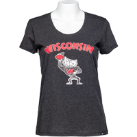 Cover Image For '47 Brand Women's Wisconsin Football T-Shirt (Charcoal) *