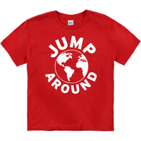Cover Image For Top Promotions Jump Around Earth T-Shirt (Red) Youth