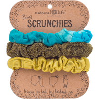 Image For Natural Life Skinny Scrunchies 3-Pack (Teal/Gold/Green) *