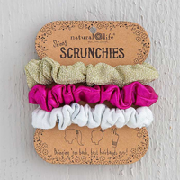 Image For Natural Life Skinny Scrunchies 3-Pack (Gold/Pink/White) *