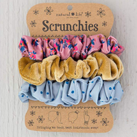Cover Image For Natural Life Scrunchie 3-Pack (Flower/Gold/Blue) *