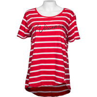 Image For UG Apparel WI Women's Striped T-Shirt (Red/White) Plus