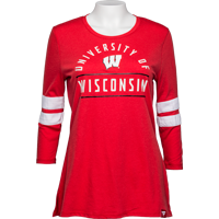 Image For Fan Women's UW ¾ Sleeve Shirt (Red)
