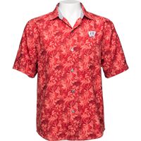 Image For Tommy Bahama WI Jungle Shade Silk Camp Shirt (Red) Tall