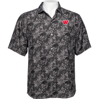 Image For Tommy Bahama WI Jungle Shade Silk Camp Shirt (Black)