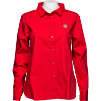 Image For UG Apparel WI Women's Classic Poplin Shirt (Red) Plus