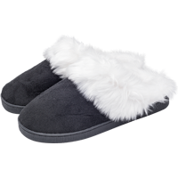 Image For Jardine Associates Women's Fuzzy Slippers (Black)