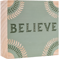Image For Here and There Believe Wooden Sign *