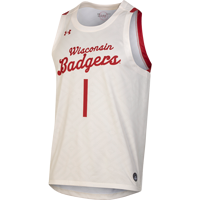 Image For Under Armour Wisconsin Throwback Basketball Jersey (Cream) *