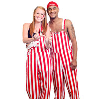 Image For Game Bibs Overalls (Red/White)
