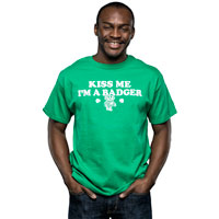 "Cover Image For Champion ""Kiss Me I'm A Badger"" T-Shirt (Green)"