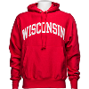 Image for Champion Reverse Weave Wisconsin Hooded Sweatshirt (Red)